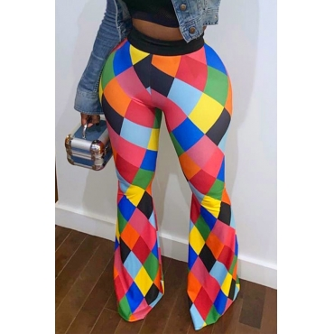 Lovely Trendy Color-lump Multicolor Pants