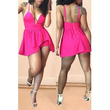 Lovely Sexy Backless Light Pink Chiffon Mini Dress