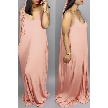Lovely Casual V Neck Asymmetrical Wine Red Blending Floor Length Dress