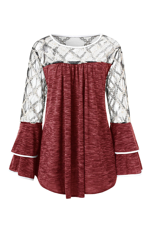 Lovely Casual Patchwork Flounce Design Red Knitting Shirts