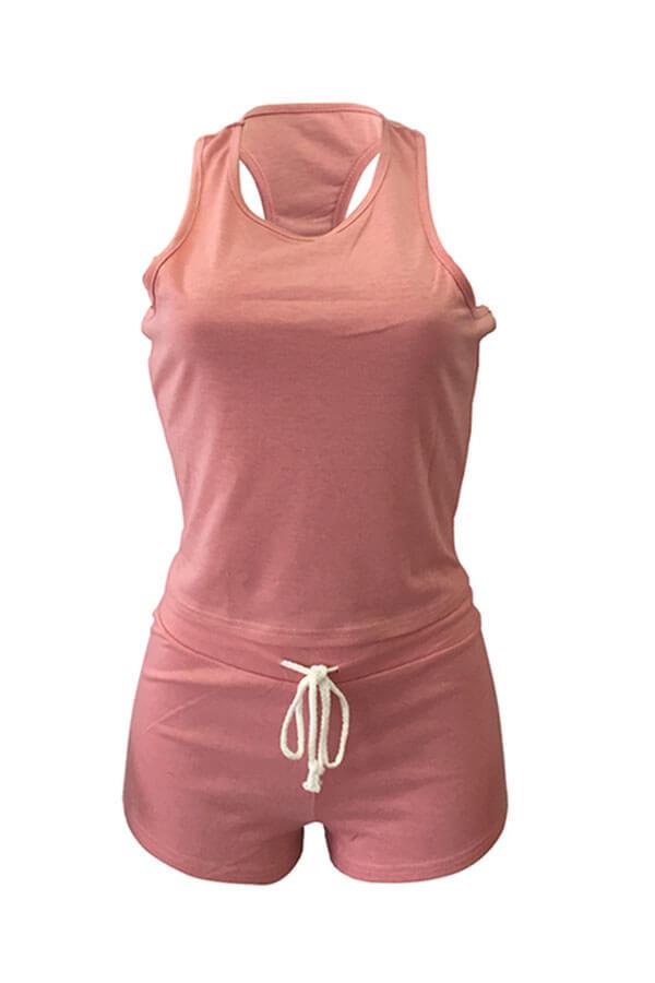 Lovely Sportswear Drawstring Deep Dusty Pink Two-piece Shorts Set