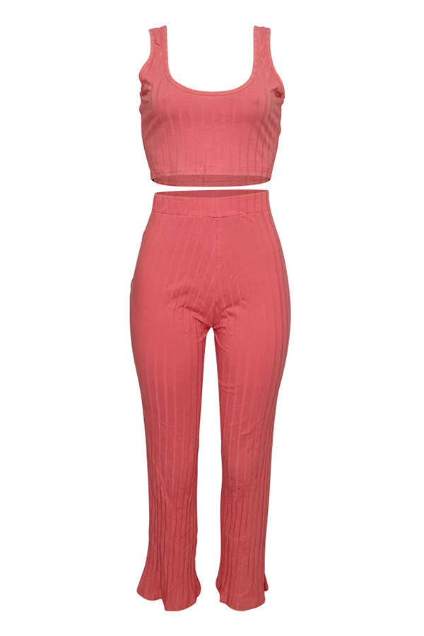 Lovely Casual U Neck Pink Cotton Two-piece Pants Set(With Coat)