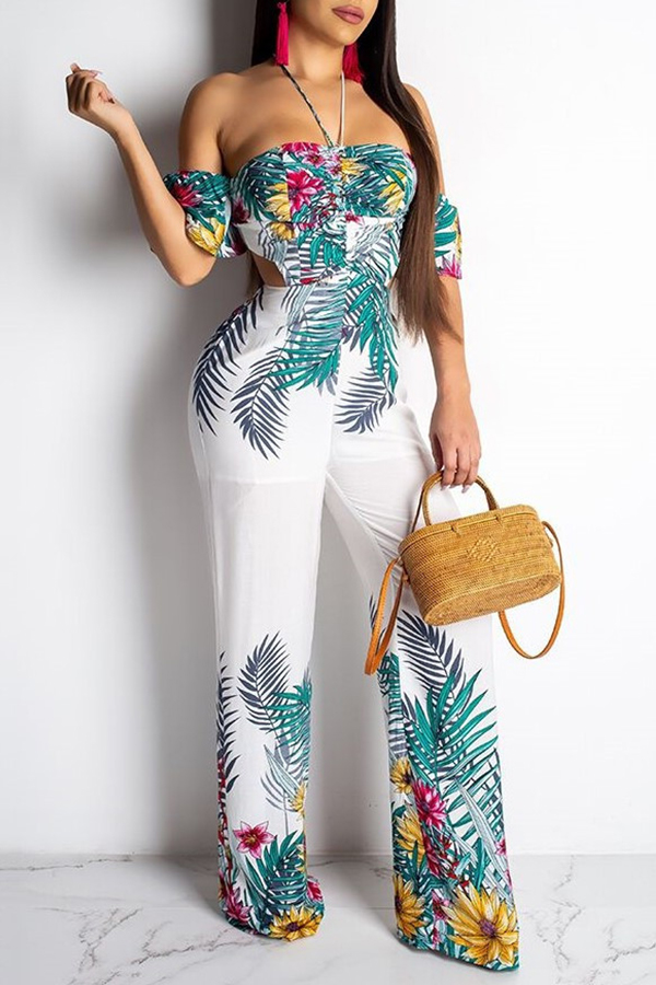 Lovely Bohemian Floral Printed White One-piece Jumpsuit