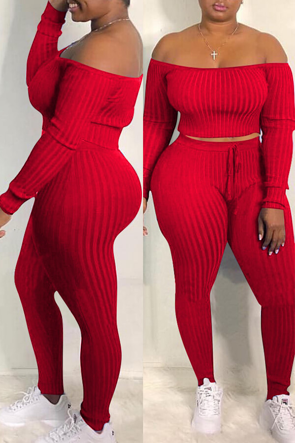 Two Pieces Lovely Casual Dew Shoulder Red Blending Two-piece Pants Set lovelywholesale