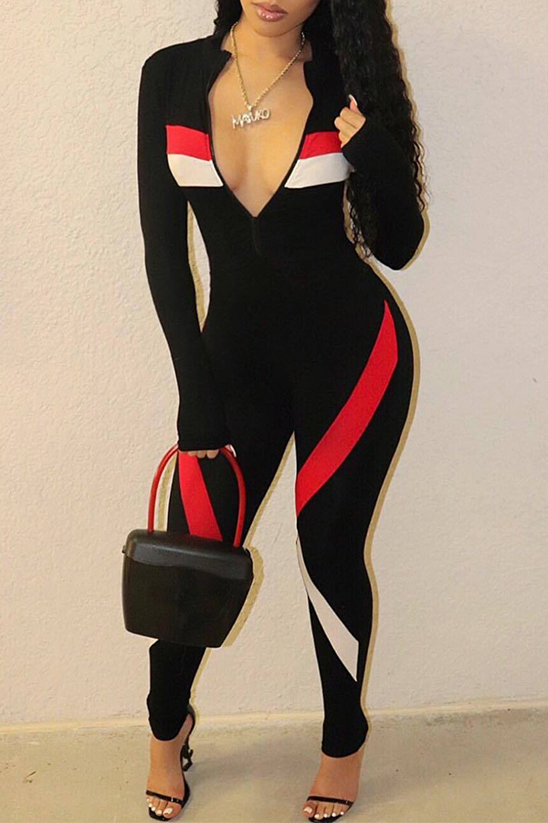 Lovely Casual Color-lump Black One-piece Jumpsuit_Jumpsuit ...