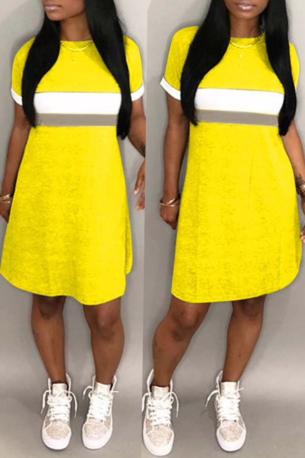 lovelywholesale / Cheap Dresses Lovely Casual Patchwork Yellow Knee Length Dress