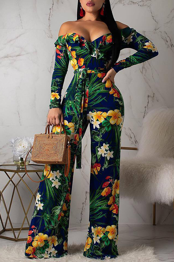 Lovely Bohemian Floral Printed Green One-piece Jumpsuit