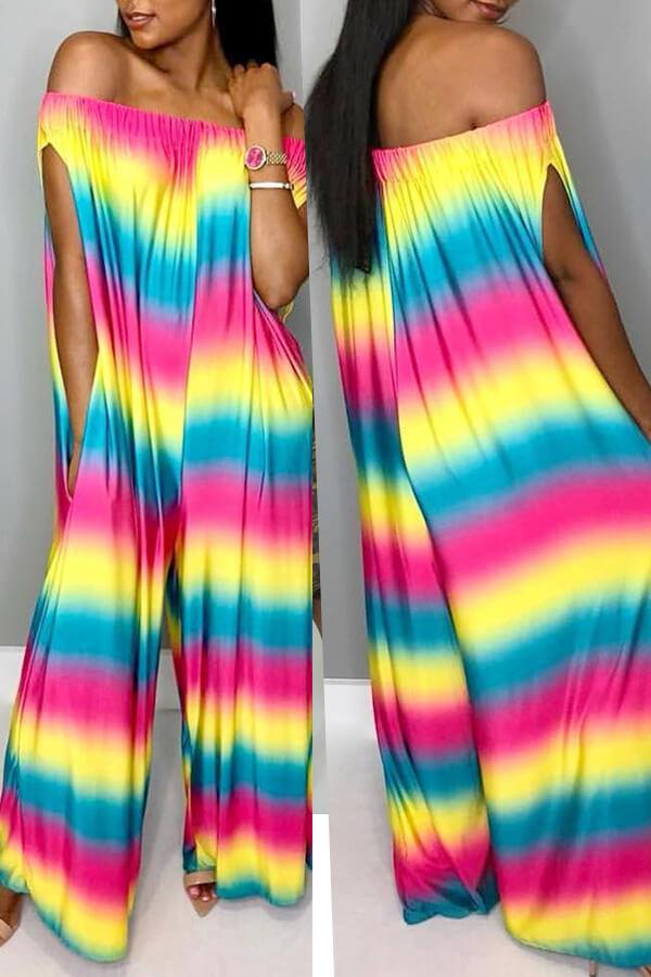 Precioso Arco Iris Casual Impreso Monos De Una Pieza Multicolor