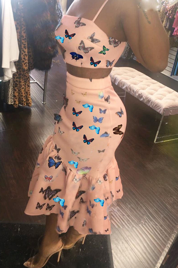 Lovely Sweet Butterfly Printed Light Pink Two-piece Skirt Set