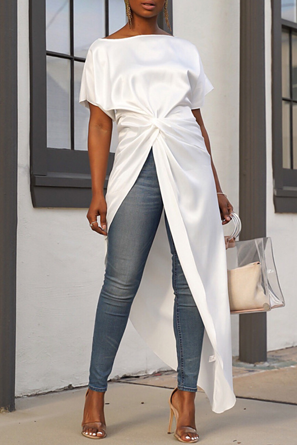Lovely Casual Asymmetrical White Blouses