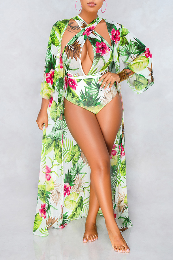 Lovely Trendy Floral Printed Light Green One-piece Swimwears  (With Cover-Ups)