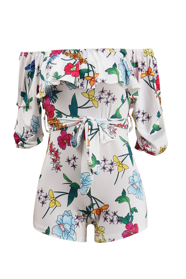 Lovely Sweet Floral Printed White One-piece Rompers