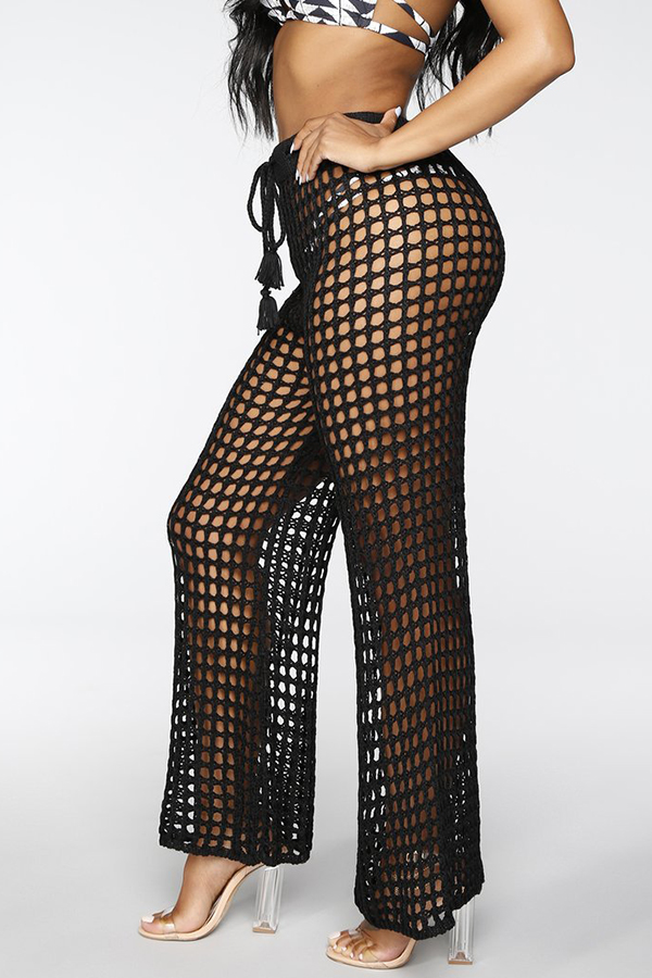 Lovely Sexy Hollowed-out Black Knitting Pants (Without Underwear)