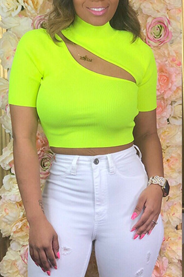 Lovely Casual Hollowed-out Yellow Blending T-shirt