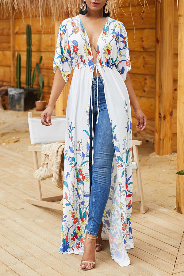 Lovely Trendy X-long Floral Printed White Coat