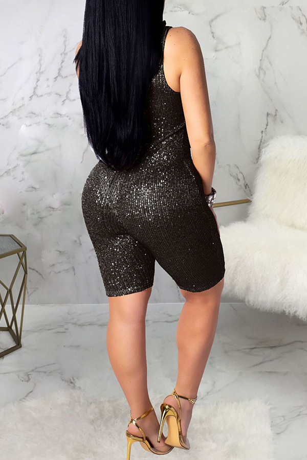 Lovely Sexy Skinny Black Sequined One-piece Rompers