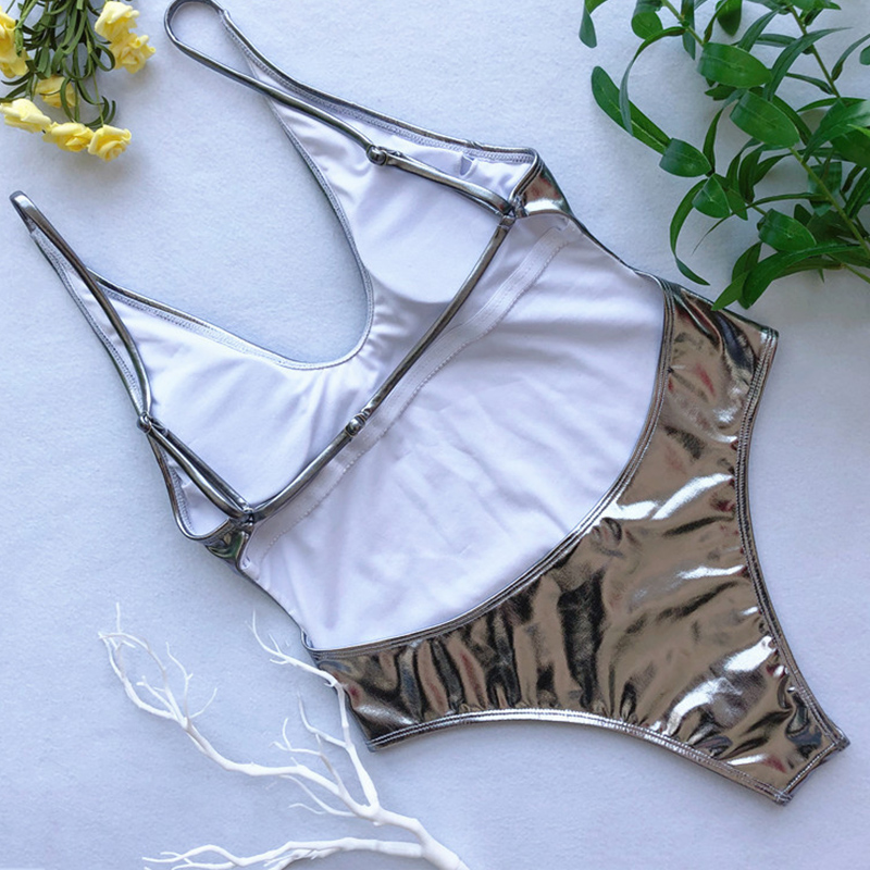Lovely Sexy Hollowed-out Silver One-piece Swimwears
