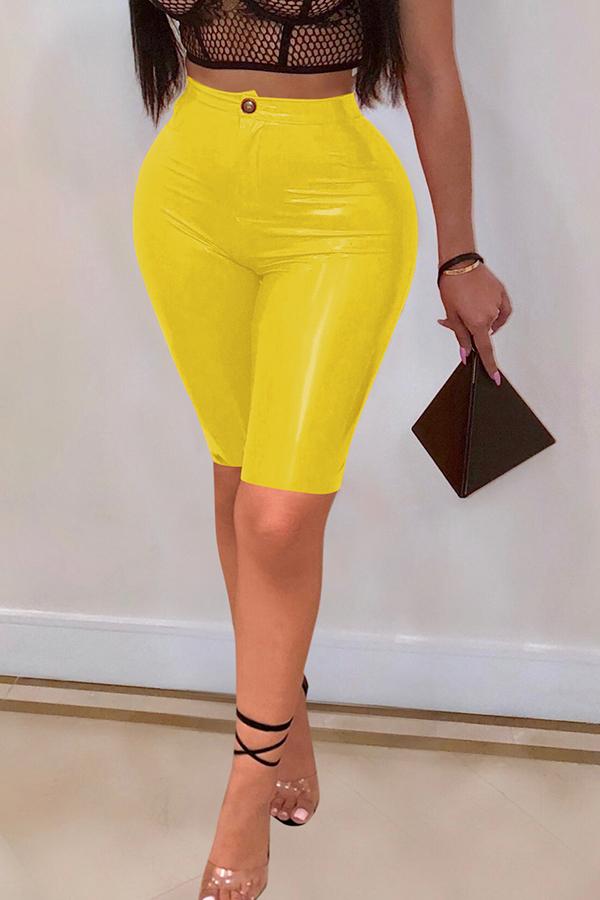 Lovely Trendy Skinny Yellow PU Shorts