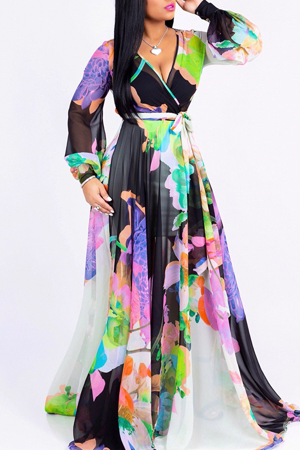 Lovely Temperament Floral Printed Loose White Floor Length  Dress