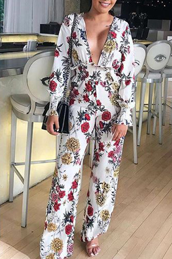 Lovely Sweet Floral Printed Multicolor One-piece Jumpsuit фото