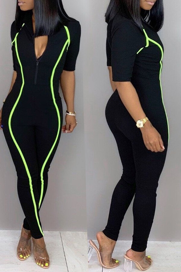 Lovely Casual Zipper Design Skinny Black Twilled Satin One-piece Jumpsuit