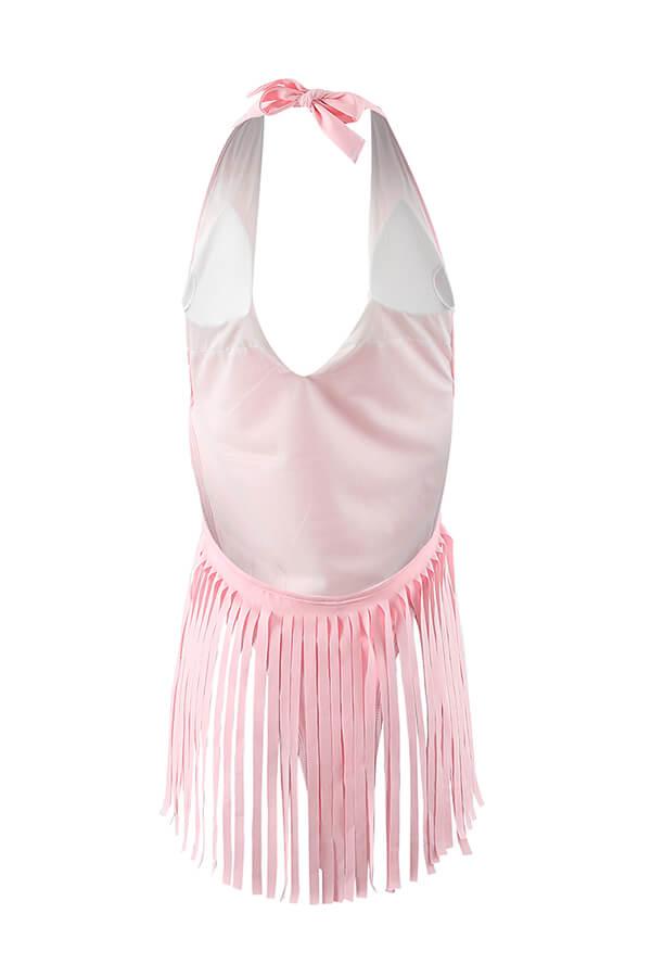 Lovely Sexy Tassel Design Pink One-piece Swimwear