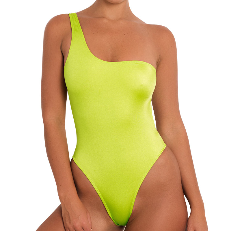Lovely Sexy One Shoulder Yellow One-piece Swimwears