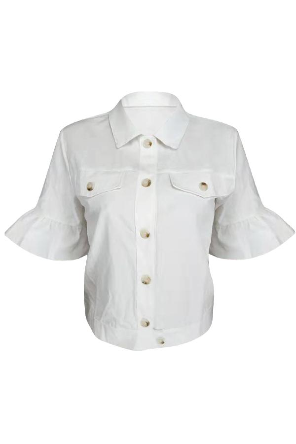 Lovely Casual Lotus Leaf Sleeves Short White Jacket