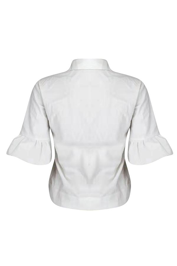Mangas De Folha De Lótus Casuais Lindo Curto Jaqueta Branca