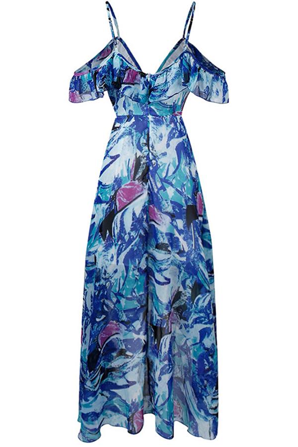 Lovely Trendy Printed Flounce Design Blue Ankle Length Dress
