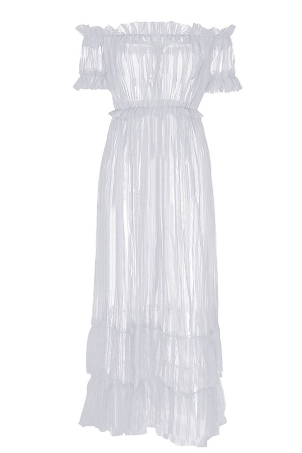 Lovely Sexy See-through Croci Ankle Length Dress(Without Underwear)