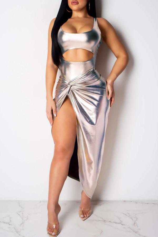 Lovely Sexy Sleeveless Side High Slit SilverTwo-piece Skirt Set