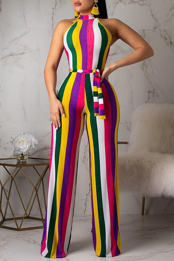 Lovely Casual Striped Multicolor Twilled Satin One-piece Jumpsuit (Batch Print)