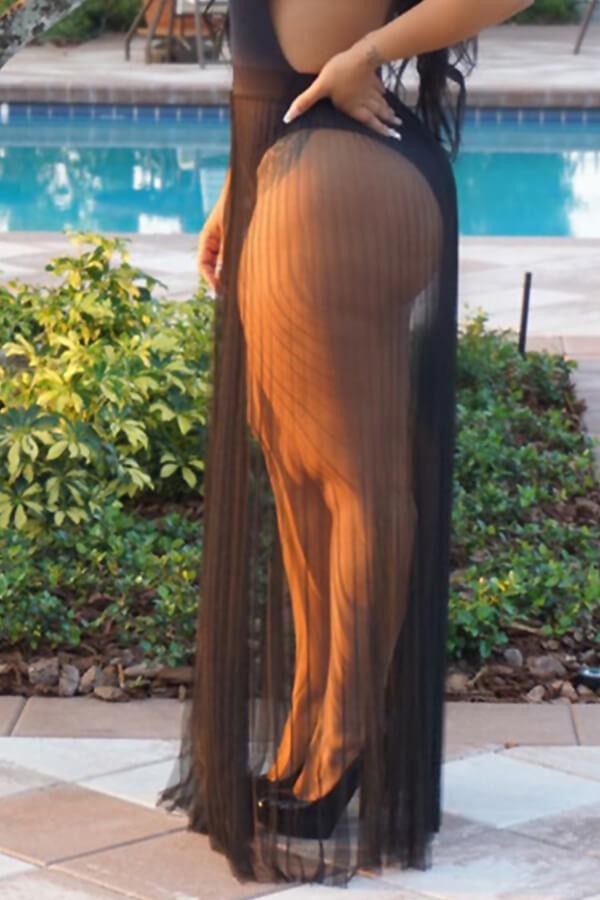 Lovely Trendy Loose Black Skirt Cover-up