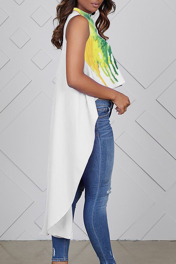 Lovely Casual Sleeveless Irregular Hems White T-shirt