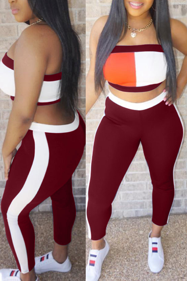 Lovely Casual Patchwork Wine Red Twilled Satin Two-piece Pants Set