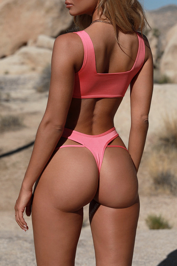 Lovely Trendy Hollowed-out Pink Two-piece Swimwear