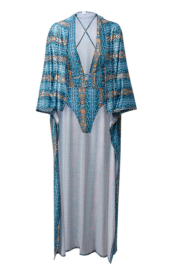 Lovely Trendy Printed Blue One-piece Swimwear (With Cover-up)