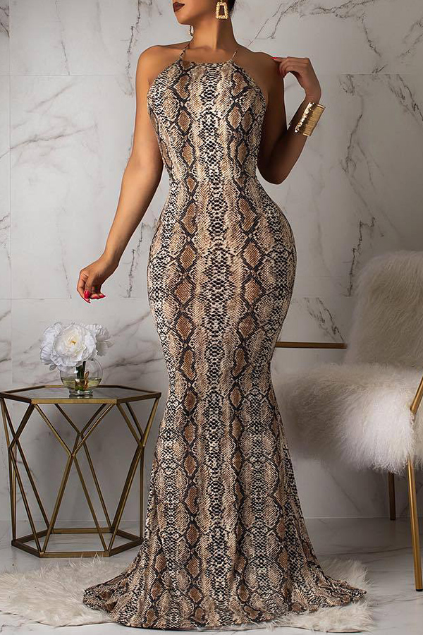 Lovely Sexy Backless Pythons Grain Khaki Floor Length Printed Dress(With Elastic)