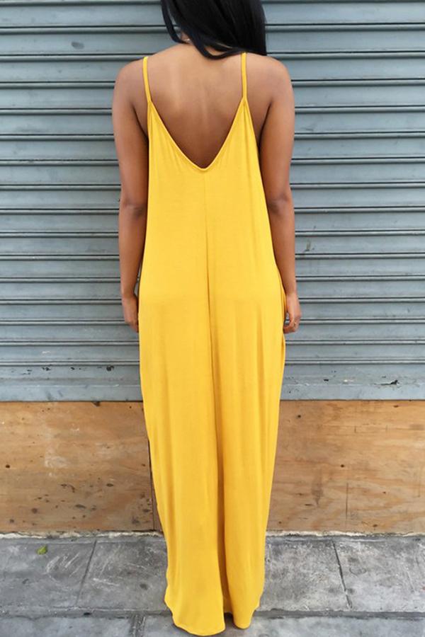 Adorabile Scollo A V Vestibilità Asimmetrica Di Colore Giallo