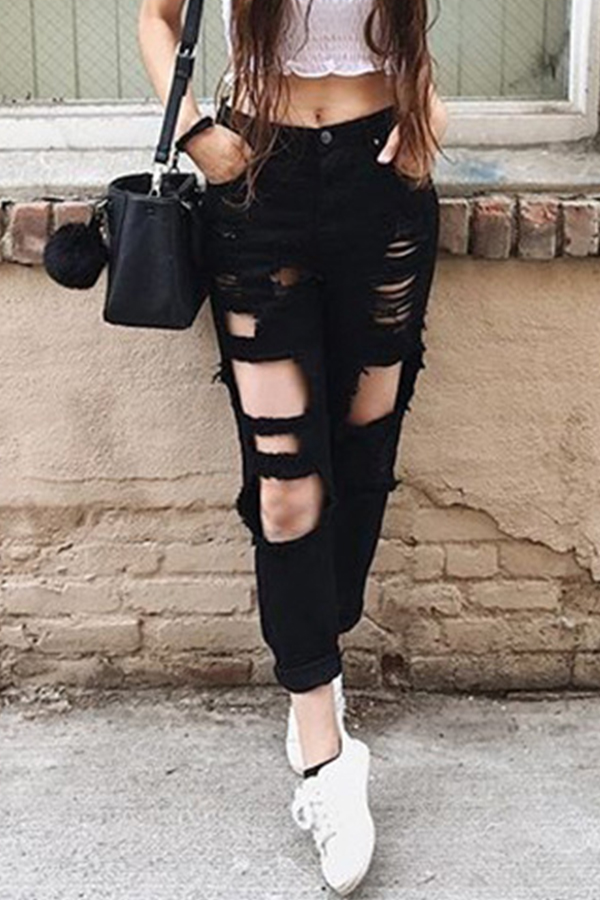 Lovely Stylish Broken Holes Black Jeans