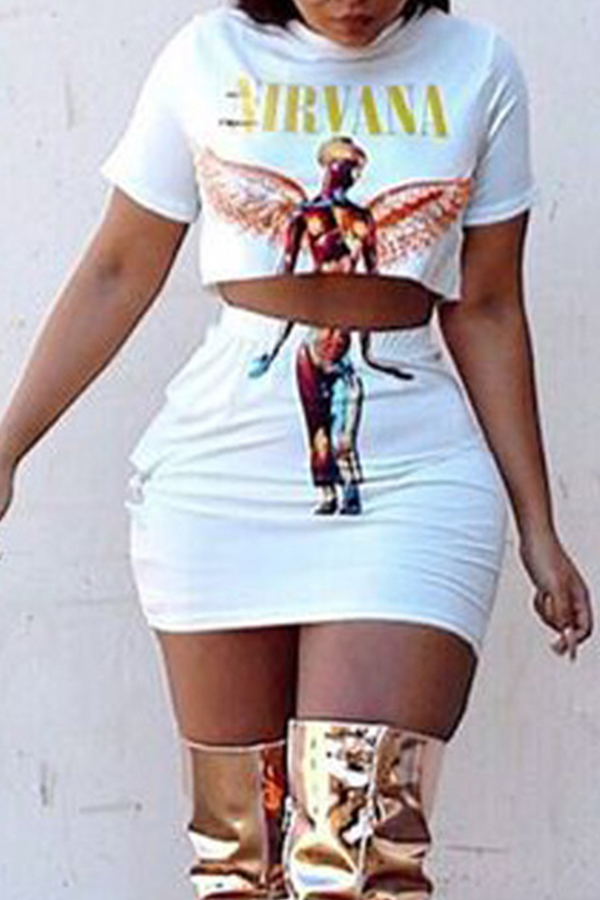 Lovely Casual Print White Two-piece Skirt Set
