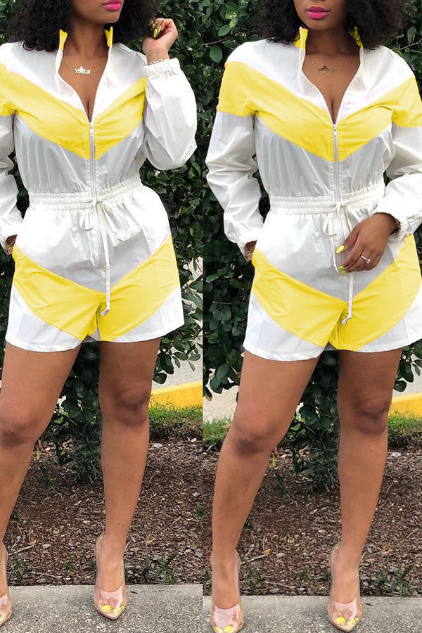 Lovely Casual Zipper Design Yellow Rompers(With Elastic)