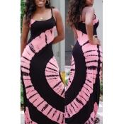 Reizendes Beiläufiges Ärmelloses Bedrucktes Rosafarbenes Bodenlangen Kleid