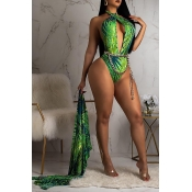 Lovely Trendy Floral Printed Green One-piece Swimwears (With CoverUps,Without Accessories)