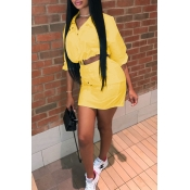 Lovely Casual Turndown Collar Yellow Two-piece Skirt Set