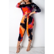 Lovely Casual Color-lump Orange Twilled Satin One-piece Jumpsuit