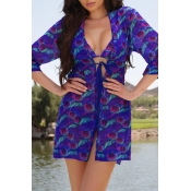 Lovely Trendy Printed Blue Bikinis (With CoverUps)