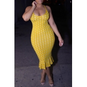 Lovely Sweet Dots Printed Yellow  Trumpet Mermaid  Dress