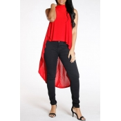 Lovely Casual Short Front And Long Back Red Tank T